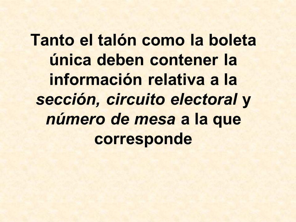 Tanto el talón como la boleta única deben contener la información relativa a la sección, circuito electoral y número de mesa a la que corresponde