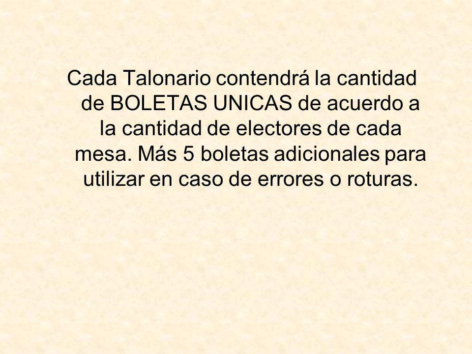 Cada Talonario contendrá la cantidad de BOLETAS UNICAS de acuerdo a la cantidad de electores de cada mesa. Más 5 boletas adicionales para utilizar en