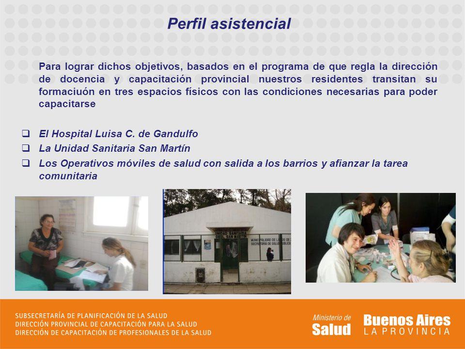 Perfil asistencial Para lograr dichos objetivos, basados en el programa de que regla la dirección de docencia y capacitación provincial nuestros resid