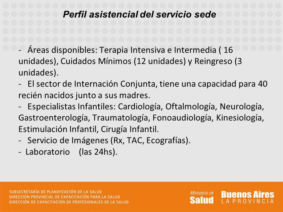 Perfil asistencial del servicio sede - Áreas disponibles: Terapia Intensiva e Intermedia ( 16 unidades), Cuidados Mínimos (12 unidades) y Reingreso (3