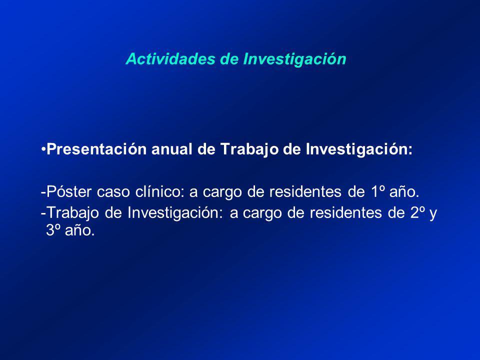 Actividades de Investigación Presentación anual de Trabajo de Investigación: -Póster caso clínico: a cargo de residentes de 1º año. -Trabajo de Invest