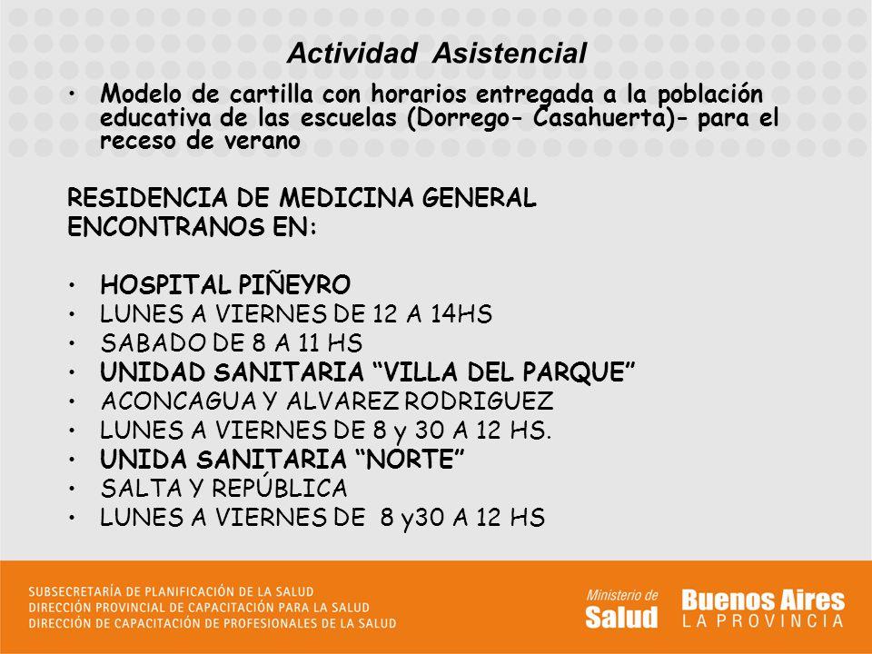 Modelo de cartilla con horarios entregada a la población educativa de las escuelas (Dorrego- Casahuerta)- para el receso de verano RESIDENCIA DE MEDICINA GENERAL ENCONTRANOS EN: HOSPITAL PIÑEYRO LUNES A VIERNES DE 12 A 14HS SABADO DE 8 A 11 HS UNIDAD SANITARIA VILLA DEL PARQUE ACONCAGUA Y ALVAREZ RODRIGUEZ LUNES A VIERNES DE 8 y 30 A 12 HS.