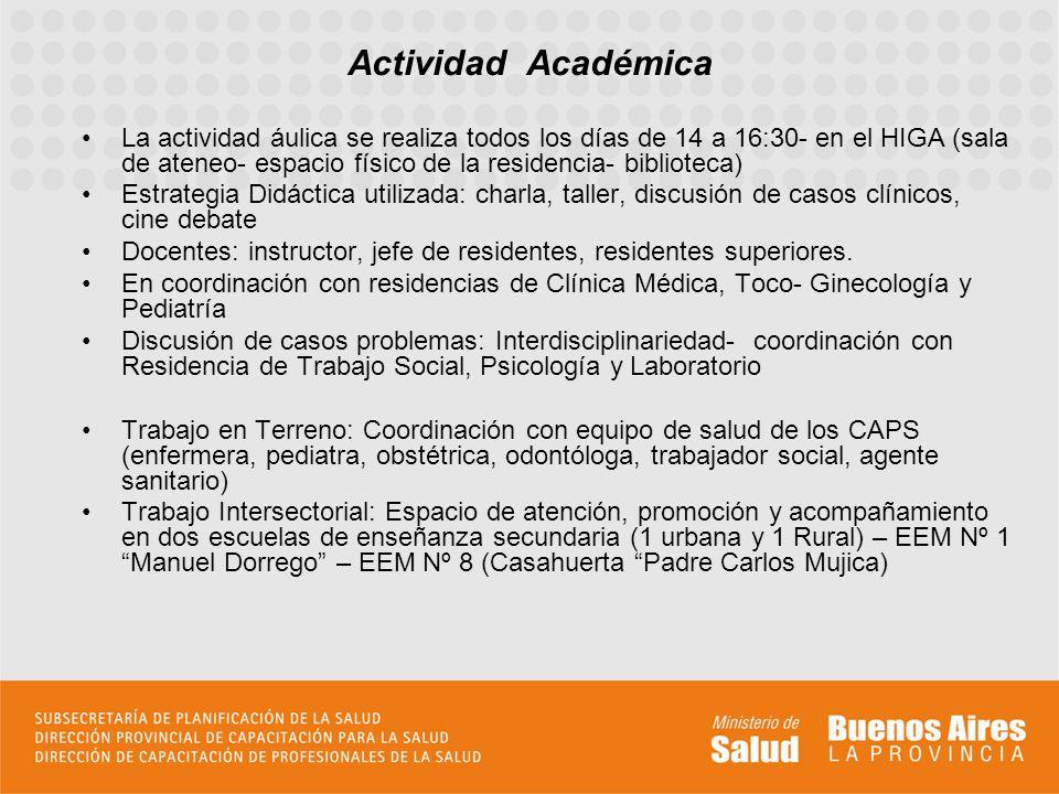 La actividad áulica se realiza todos los días de 14 a 16:30- en el HIGA (sala de ateneo- espacio físico de la residencia- biblioteca) Estrategia Didác