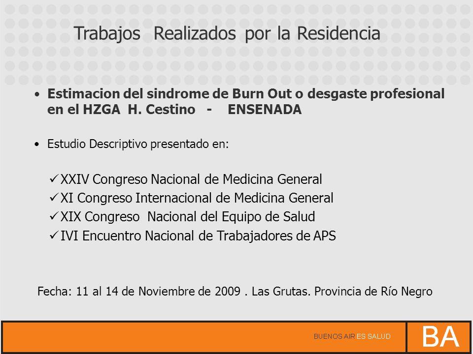 Estimacion del sindrome de Burn Out o desgaste profesional en el HZGA H. Cestino - ENSENADA Estudio Descriptivo presentado en: XXIV Congreso Nacional