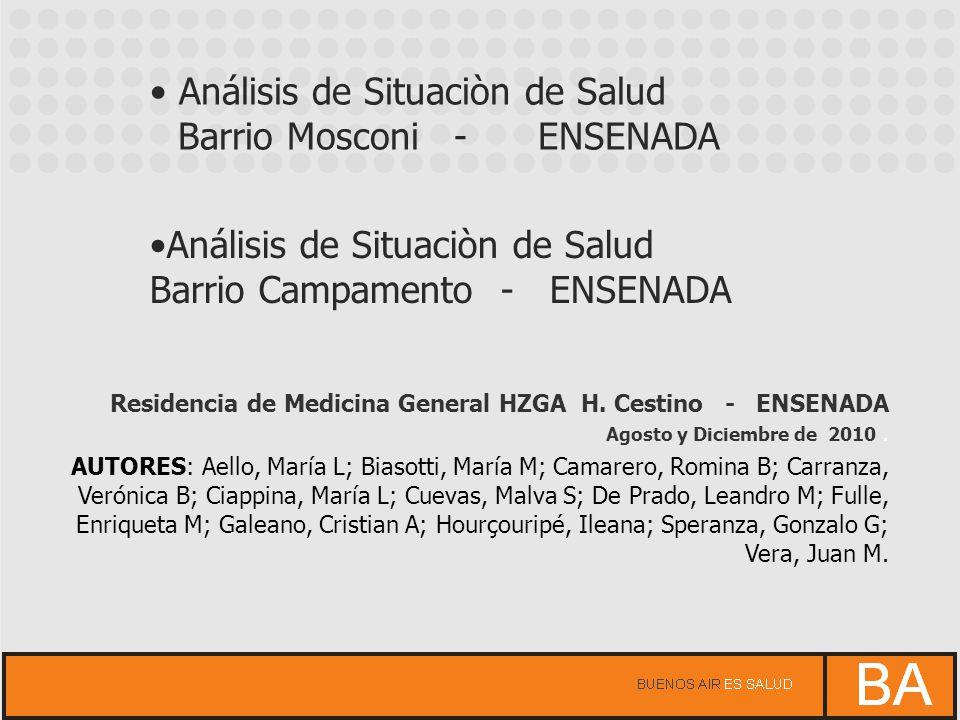 Análisis de Situaciòn de Salud Barrio Mosconi - ENSENADA Análisis de Situaciòn de Salud Barrio Campamento - ENSENADA Residencia de Medicina General HZ