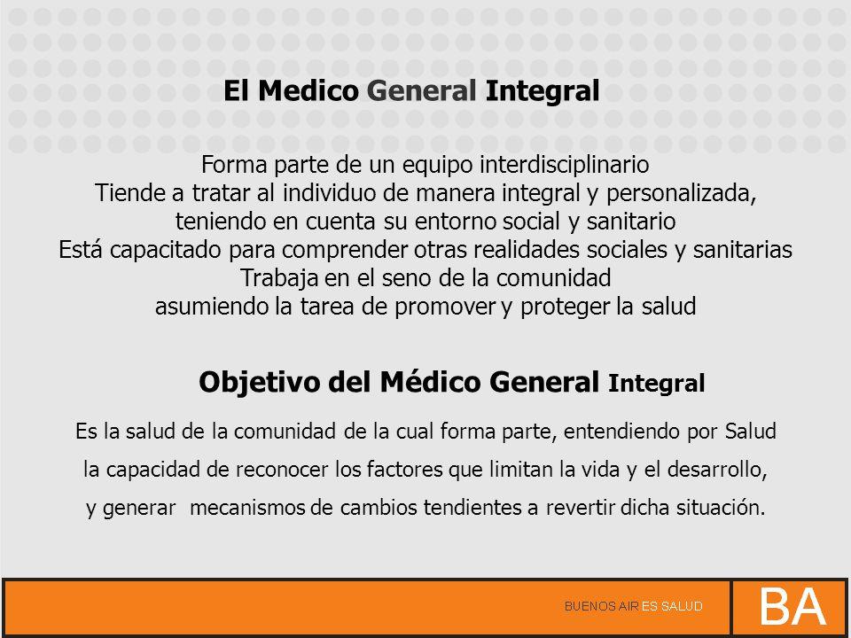 El Medico General Integral Forma parte de un equipo interdisciplinario Tiende a tratar al individuo de manera integral y personalizada, teniendo en cu
