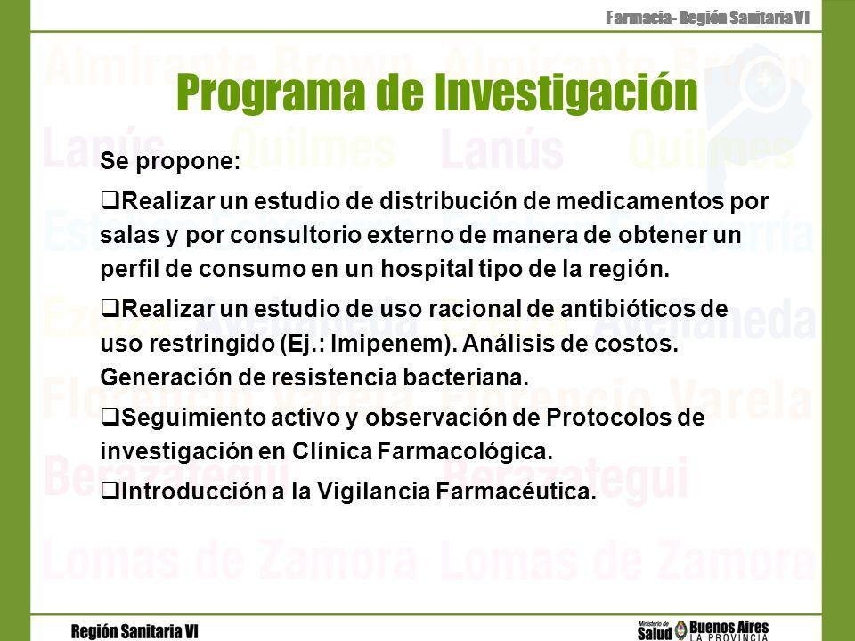 Programa de Investigación Se propone: Realizar un estudio de distribución de medicamentos por salas y por consultorio externo de manera de obtener un