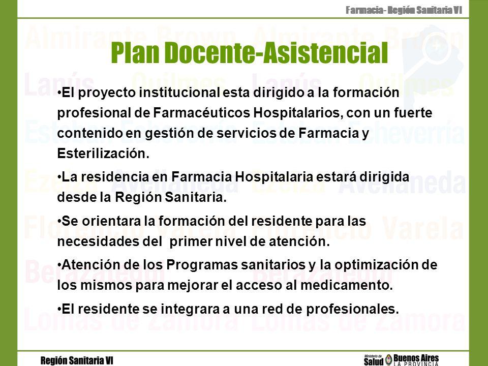 Plan Docente-Asistencial El proyecto institucional esta dirigido a la formación profesional de Farmacéuticos Hospitalarios, con un fuerte contenido en