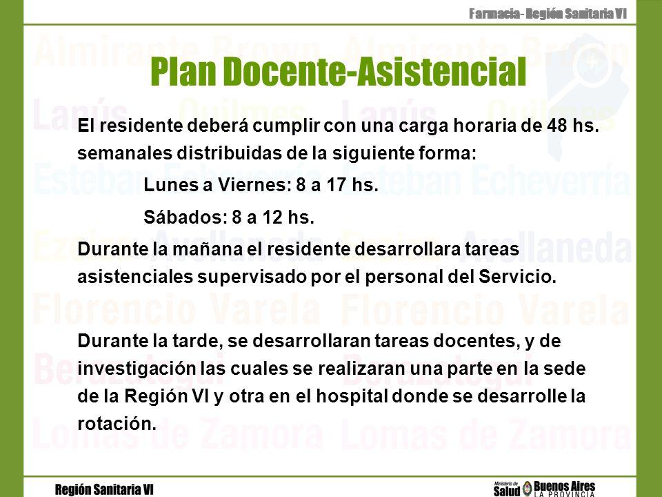 Plan Docente-Asistencial El residente deberá cumplir con una carga horaria de 48 hs. semanales distribuidas de la siguiente forma: Lunes a Viernes: 8
