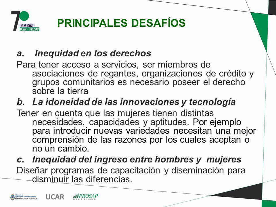 PRINCIPALES DESAFÍOS a. Inequidad en los derechos Para tener acceso a servicios, ser miembros de asociaciones de regantes, organizaciones de crédito y