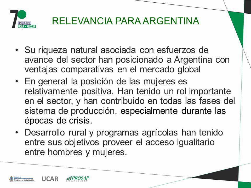 RELEVANCIA PARA ARGENTINA Su riqueza natural asociada con esfuerzos de avance del sector han posicionado a Argentina con ventajas comparativas en el m