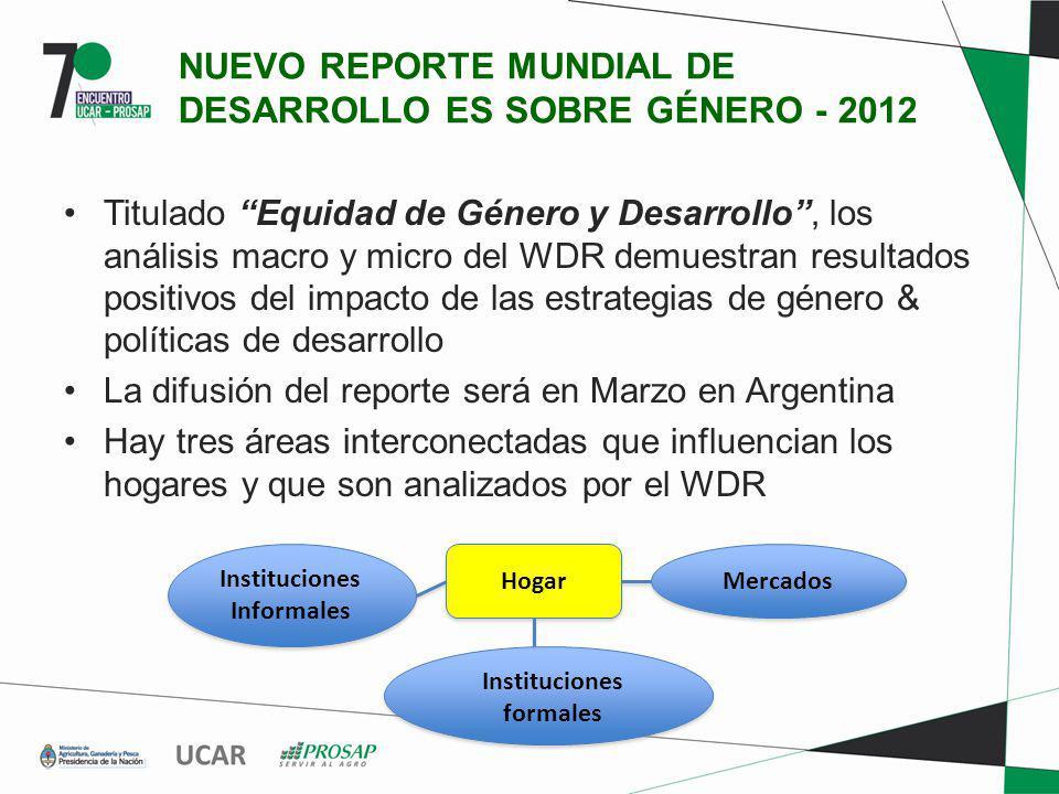 NUEVO REPORTE MUNDIAL DE DESARROLLO ES SOBRE GÉNERO - 2012 Titulado Equidad de Género y Desarrollo, los análisis macro y micro del WDR demuestran resu