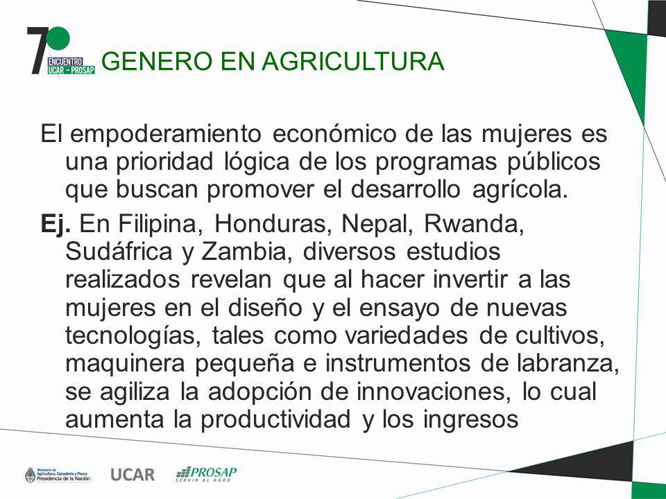 GENERO EN AGRICULTURA El empoderamiento económico de las mujeres es una prioridad lógica de los programas públicos que buscan promover el desarrollo a