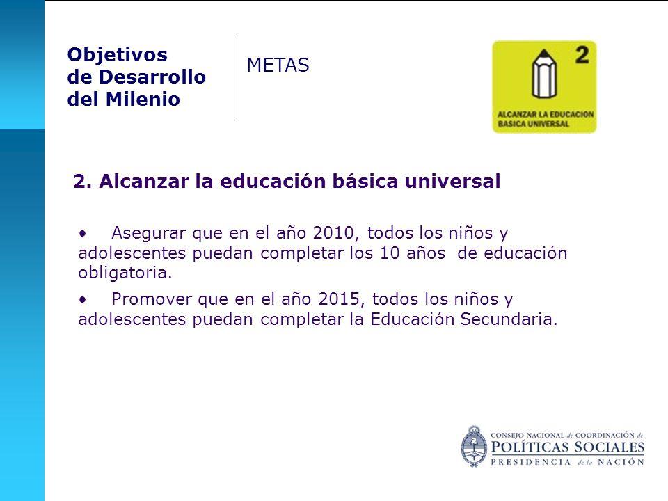 2. Alcanzar la educación básica universal Asegurar que en el año 2010, todos los niños y adolescentes puedan completar los 10 años de educación obliga
