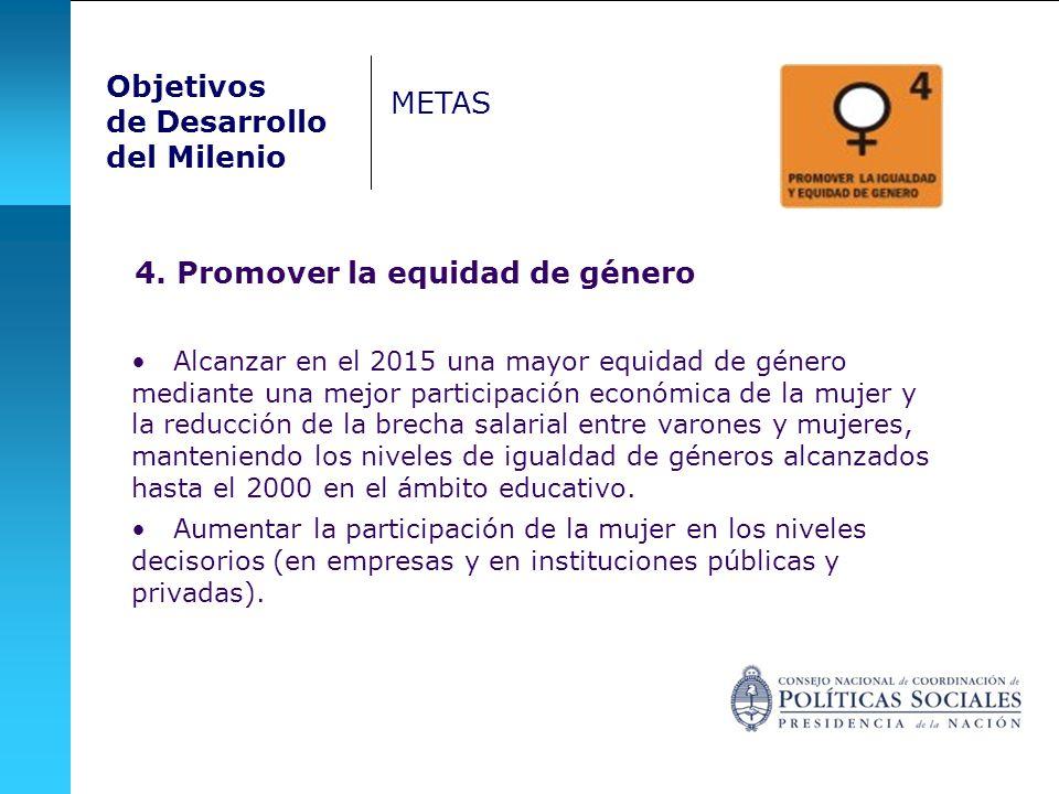 4. Promover la equidad de género Alcanzar en el 2015 una mayor equidad de género mediante una mejor participación económica de la mujer y la reducción
