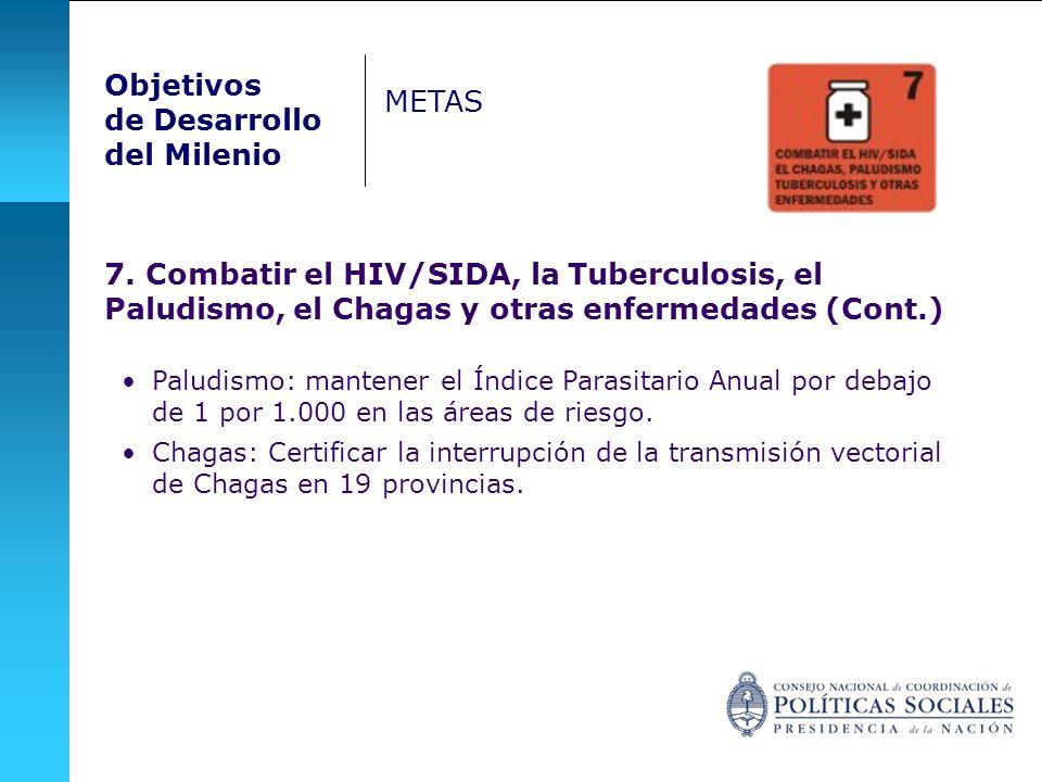 7. Combatir el HIV/SIDA, la Tuberculosis, el Paludismo, el Chagas y otras enfermedades (Cont.) Paludismo: mantener el Índice Parasitario Anual por deb