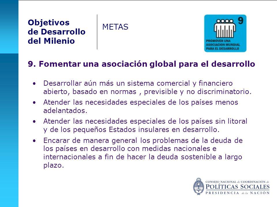 9. Fomentar una asociación global para el desarrollo Desarrollar aún más un sistema comercial y financiero abierto, basado en normas, previsible y no