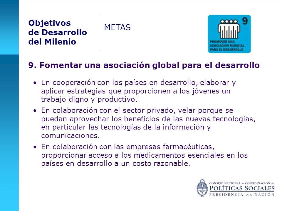 Objetivos de Desarrollo del Milenio METAS 9. Fomentar una asociación global para el desarrollo En cooperación con los países en desarrollo, elaborar y