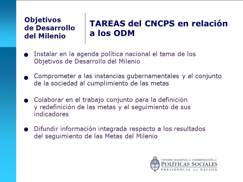 Objetivos de Desarrollo del Milenio TAREAS del CNCPS en relación a los ODM Comprometer a las instancias gubernamentales y al conjunto de la sociedad al cumplimiento de las metas Instalar en la agenda política nacional el tema de los Objetivos de Desarrollo del Milenio Difundir información integrada respecto a los resultados del seguimiento de las Metas del Milenio Colaborar en el trabajo conjunto para la definición y redefinición de las metas y el seguimiento de sus indicadores