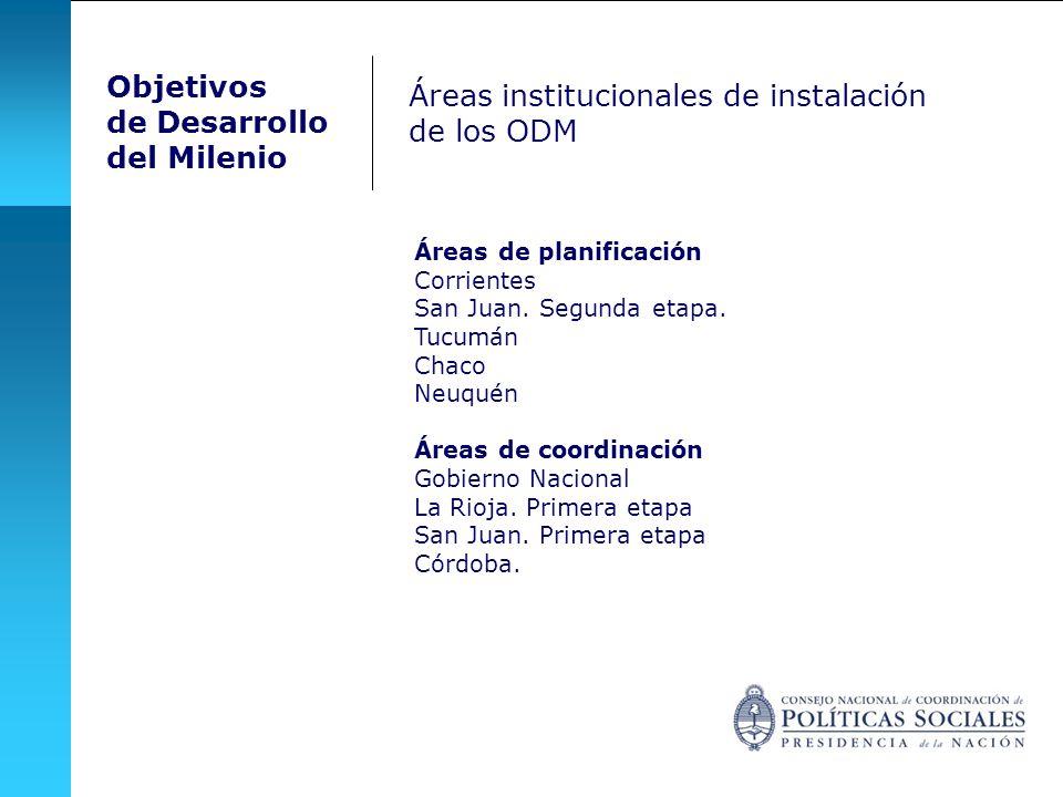 Áreas institucionales de instalación de los ODM Áreas de planificación Corrientes San Juan. Segunda etapa. Tucumán Chaco Neuquén Áreas de coordinación