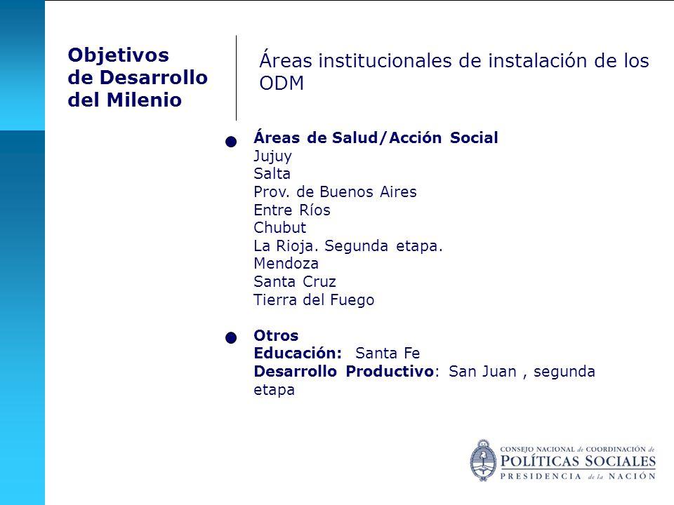 Áreas de Salud/Acción Social Jujuy Salta Prov.de Buenos Aires Entre Ríos Chubut La Rioja.