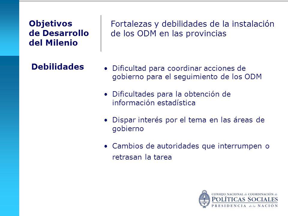 Dificultad para coordinar acciones de gobierno para el seguimiento de los ODM Dificultades para la obtención de información estadística Dispar interés