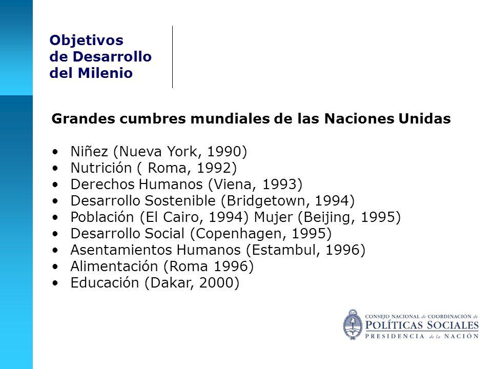 Grandes cumbres mundiales de las Naciones Unidas Niñez (Nueva York, 1990) Nutrición ( Roma, 1992) Derechos Humanos (Viena, 1993) Desarrollo Sostenible