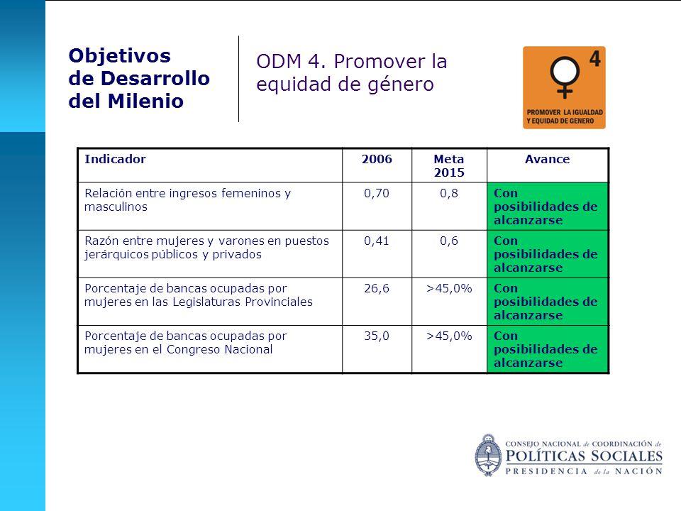 Indicador2006Meta 2015 Avance Relación entre ingresos femeninos y masculinos 0,700,8Con posibilidades de alcanzarse Razón entre mujeres y varones en p