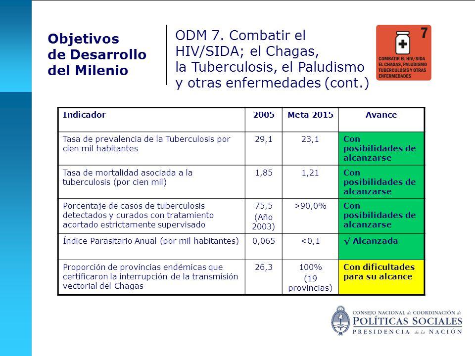 Objetivos de Desarrollo del Milenio Indicador2005Meta 2015Avance Tasa de prevalencia de la Tuberculosis por cien mil habitantes 29,123,1Con posibilida