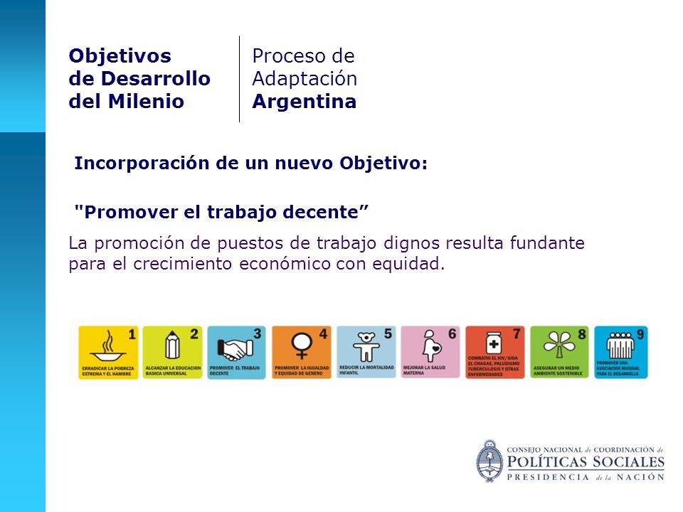 Promover el trabajo decente La promoción de puestos de trabajo dignos resulta fundante para el crecimiento económico con equidad.