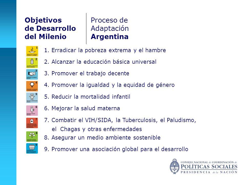 9. Promover una asociación global para el desarrollo Objetivos de Desarrollo del Milenio Proceso de Adaptación Argentina 1. Erradicar la pobreza extre