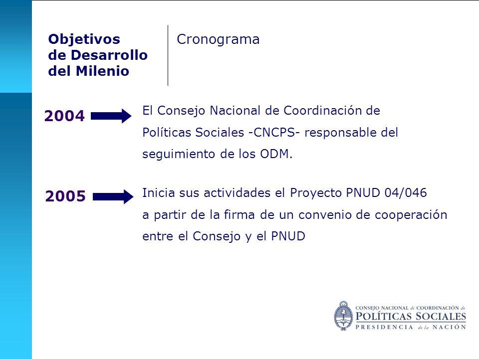 2004 El Consejo Nacional de Coordinación de Políticas Sociales -CNCPS- responsable del seguimiento de los ODM. 2005 Inicia sus actividades el Proyecto