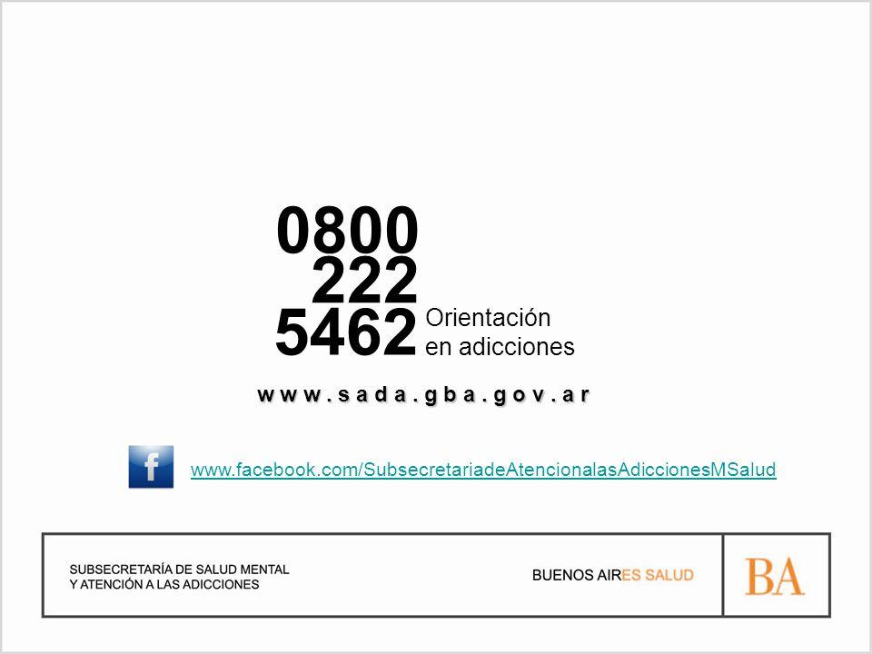 0800 222 5462 Orientación en adicciones w w w. s a d a.