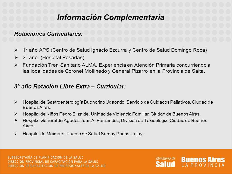 Rotaciones Curriculares: 1° año APS (Centro de Salud Ignacio Ezcurra y Centro de Salud Domingo Roca) 2° año (Hospital Posadas) Fundación Tren Sanitario ALMA.