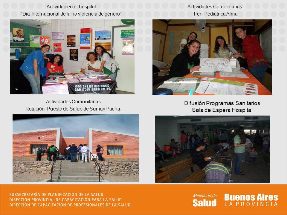 Actividades Comunitarias Tren Pediátrica Alma Actividad en el hospital Día Internacional de la no violencia de género Actividades Comunitarias Rotación Puesto de Salud de Sumay Pacha.