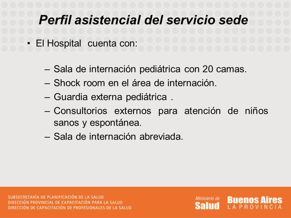 Perfil asistencial del servicio sede El Hospital cuenta con: –Sala de internación pediátrica con 20 camas. –Shock room en el área de internación. –Gua