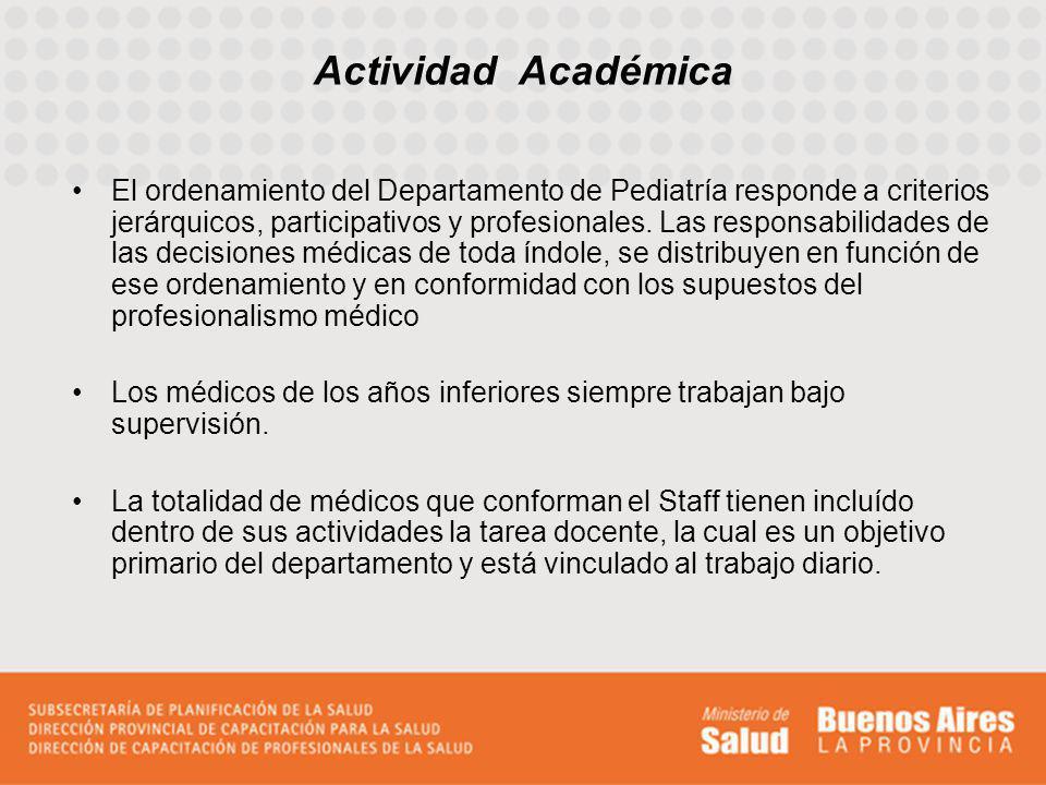 Actividad Académica El ordenamiento del Departamento de Pediatría responde a criterios jerárquicos, participativos y profesionales. Las responsabilida