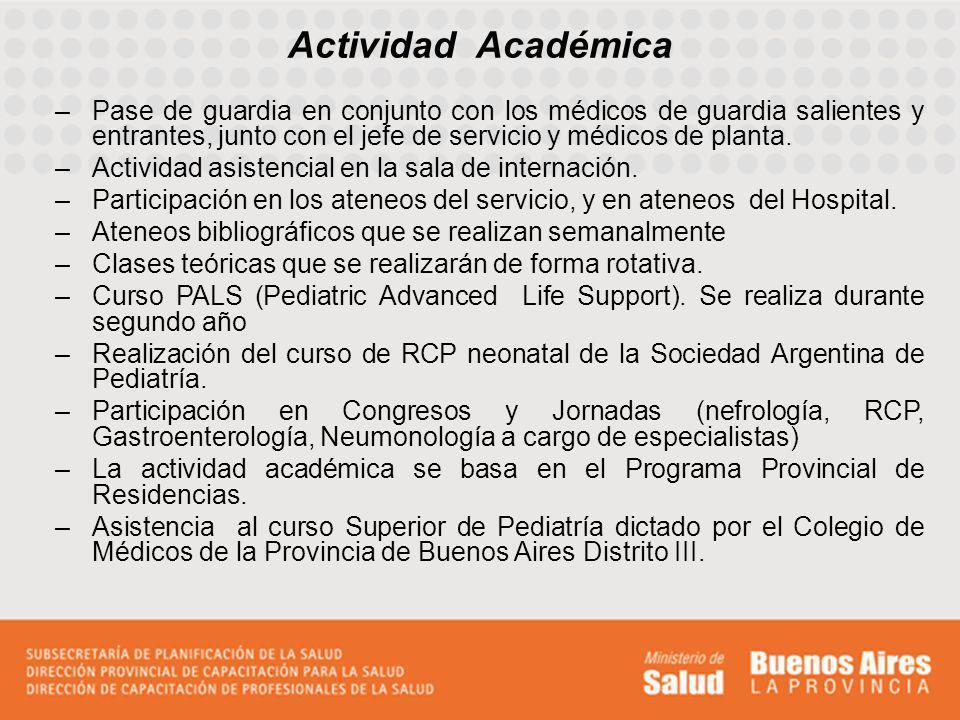 Actividad Académica –Pase de guardia en conjunto con los médicos de guardia salientes y entrantes, junto con el jefe de servicio y médicos de planta.
