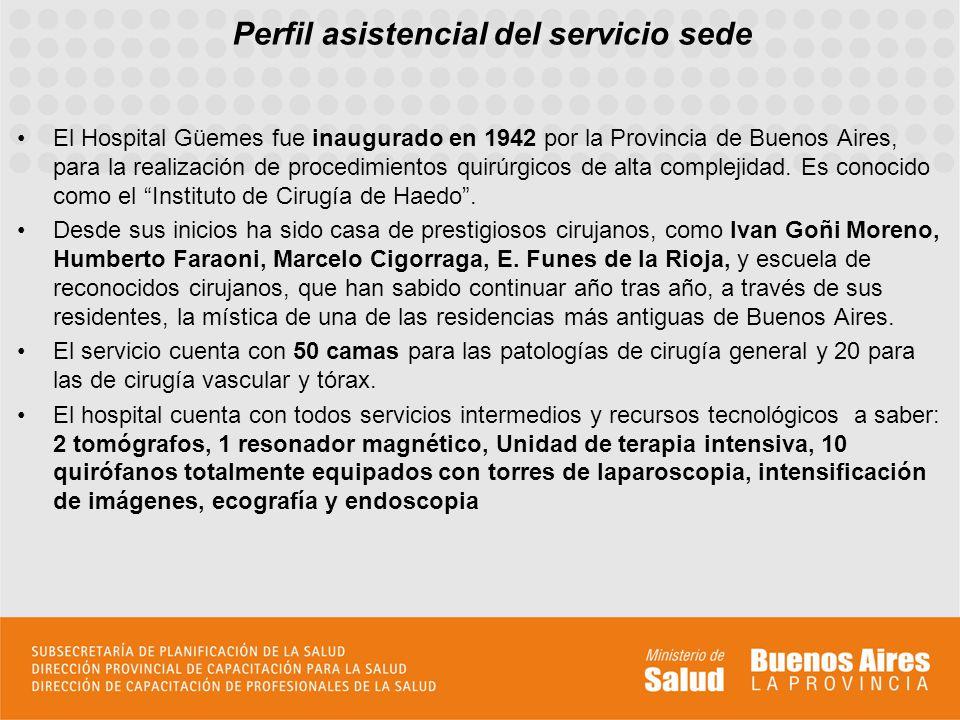 Perfil asistencial del servicio sede El Hospital Güemes fue inaugurado en 1942 por la Provincia de Buenos Aires, para la realización de procedimientos