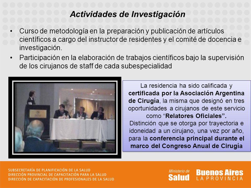 Curso de metodología en la preparación y publicación de artículos científicos a cargo del instructor de residentes y el comité de docencia e investiga