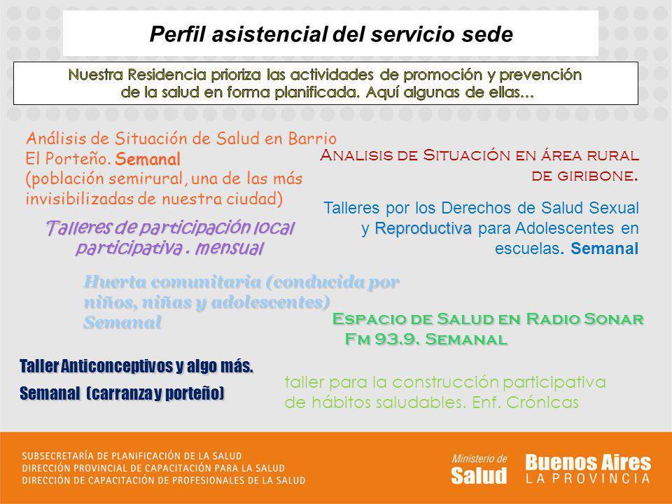 Perfil asistencial del servicio sede Análisis de Situación de Salud en Barrio El Porteño.
