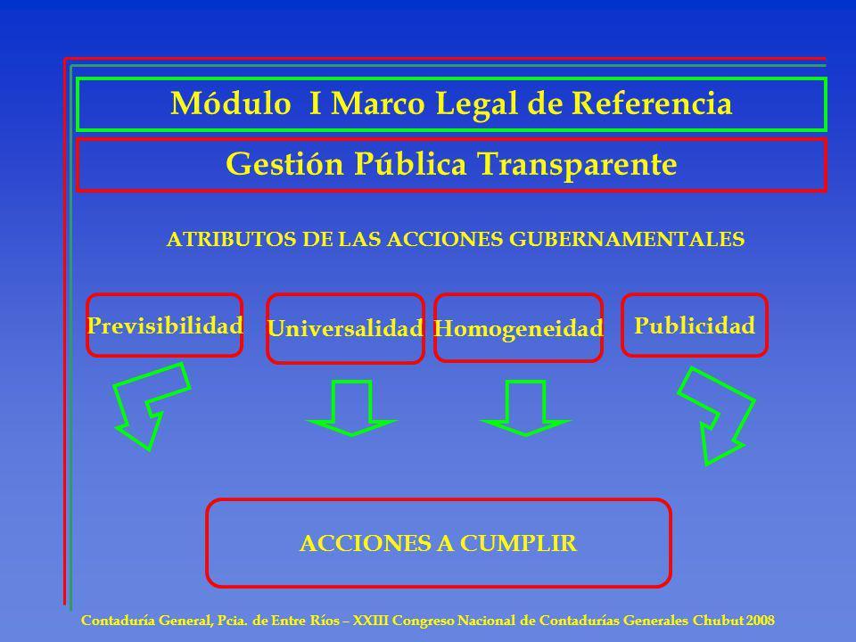 Contaduría General, Pcia. de Entre Ríos – XXIII Congreso Nacional de Contadurías Generales Chubut 2008 Gestión Pública Transparente ATRIBUTOS DE LAS A