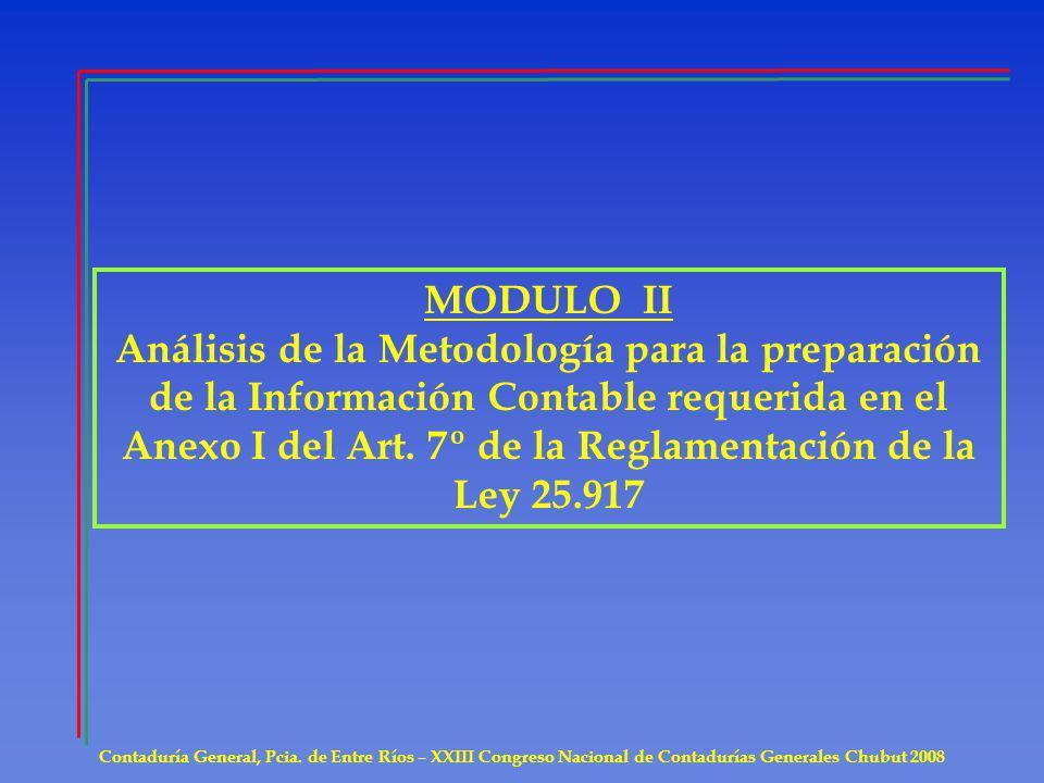 MODULO II Análisis de la Metodología para la preparación de la Información Contable requerida en el Anexo I del Art. 7º de la Reglamentación de la Ley