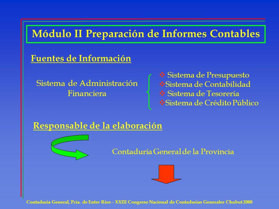 Contaduría General, Pcia. de Entre Ríos – XXIII Congreso Nacional de Contadurías Generales Chubut 2008 Módulo II Preparación de Informes Contables Fue