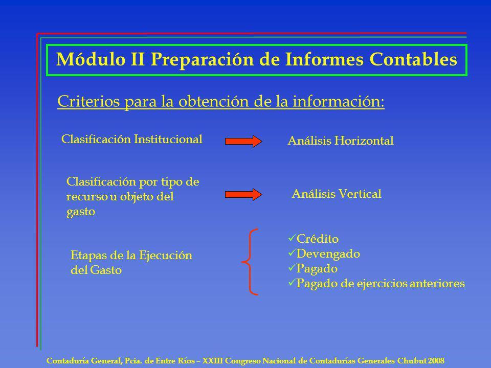 Contaduría General, Pcia. de Entre Ríos – XXIII Congreso Nacional de Contadurías Generales Chubut 2008 Módulo II Preparación de Informes Contables Cri
