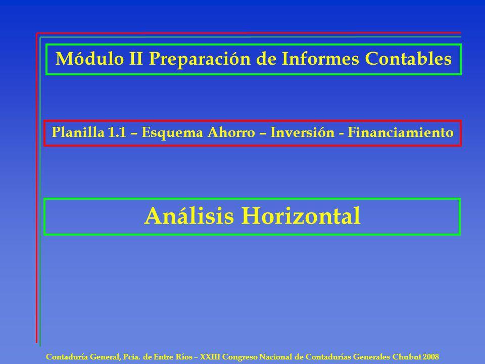 Contaduría General, Pcia. de Entre Ríos – XXIII Congreso Nacional de Contadurías Generales Chubut 2008 Análisis Horizontal Módulo II Preparación de In
