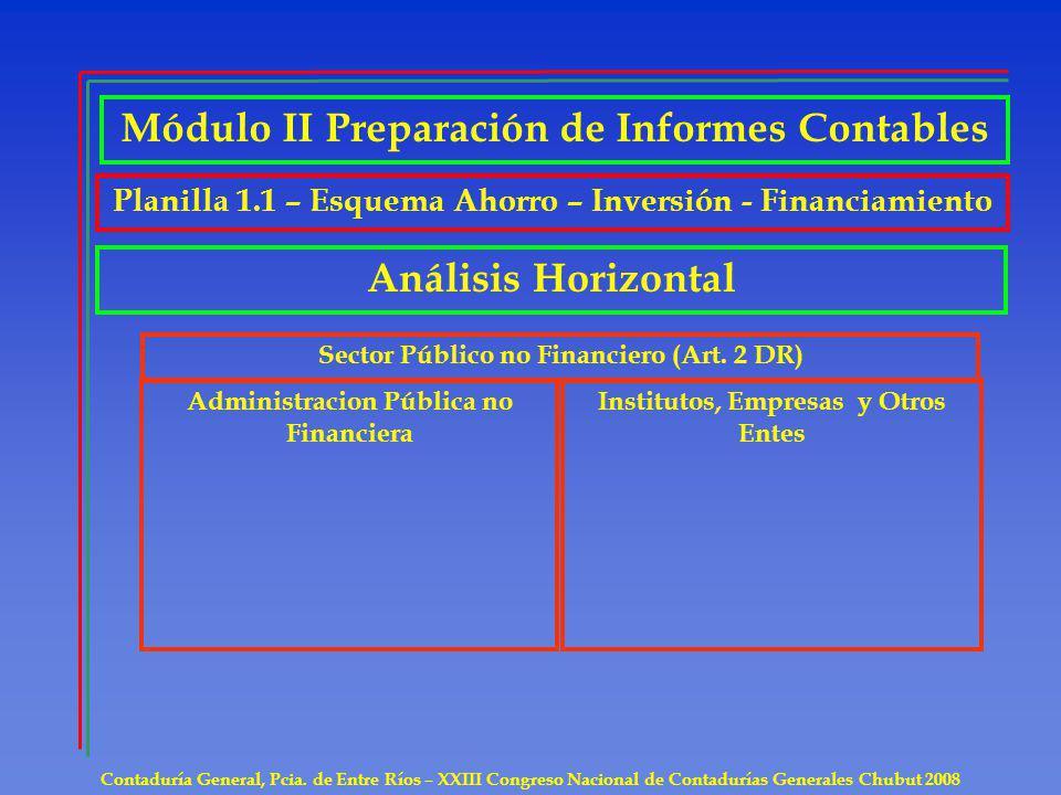 Contaduría General, Pcia. de Entre Ríos – XXIII Congreso Nacional de Contadurías Generales Chubut 2008 Análisis Horizontal Sector Público no Financier