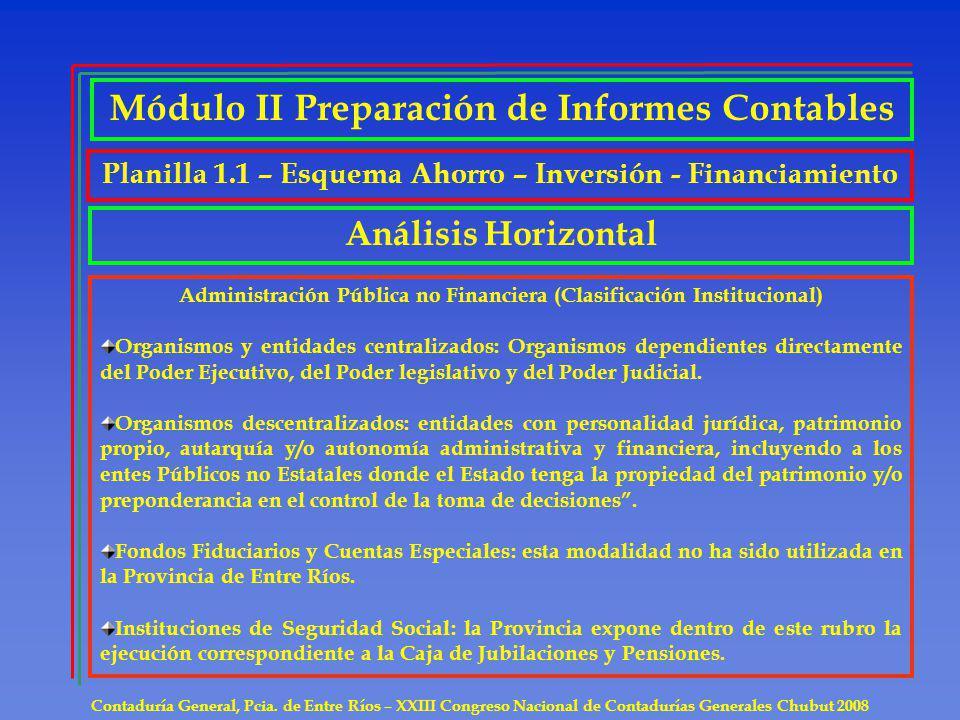 Contaduría General, Pcia. de Entre Ríos – XXIII Congreso Nacional de Contadurías Generales Chubut 2008 Análisis Horizontal Administración Pública no F