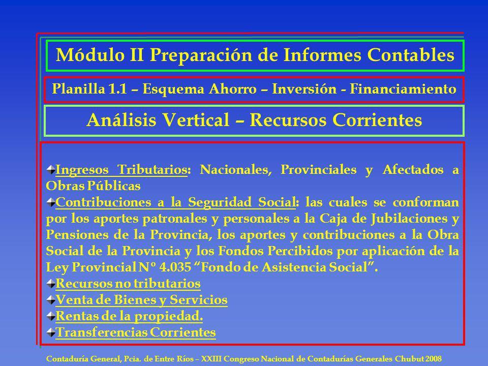 Contaduría General, Pcia. de Entre Ríos – XXIII Congreso Nacional de Contadurías Generales Chubut 2008 Ingresos Tributarios: Nacionales, Provinciales