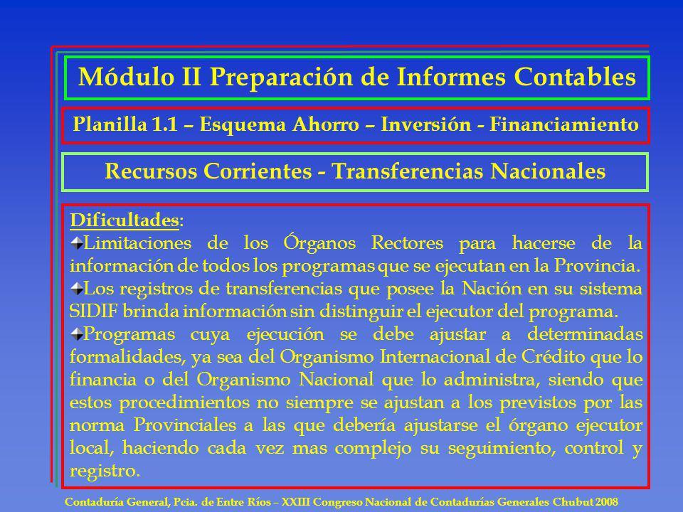 Contaduría General, Pcia. de Entre Ríos – XXIII Congreso Nacional de Contadurías Generales Chubut 2008 Recursos Corrientes - Transferencias Nacionales